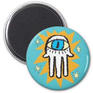 Hamsa Hand of God Gold with Blue Fridge Magnet