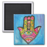 Hamsa Hand painting 2 Inch Square Magnet