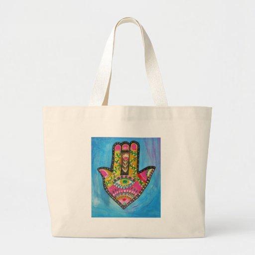 Hamsa Hand painting Tote Bags