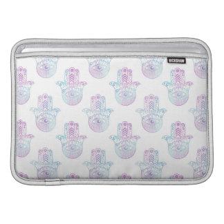 Hamsa Hand Pattern Purple and Blue MacBook Sleeve