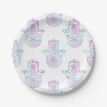 Hamsa Hand Pattern Purple and Blue Paper Plate