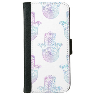 Hamsa Hand Pattern Purple and Blue Wallet Phone Case For iPhone 6/6s