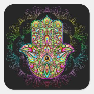 Hamsa Hand Psychedelic Art Square Sticker