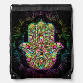 Hamsa Hand Psychedelic Drawstring Backpack