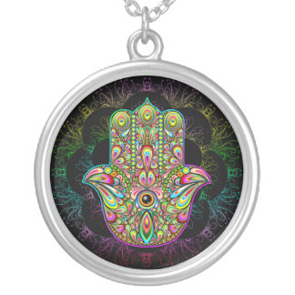 Hamsa Hand Psychedelic Silver Plated Necklace