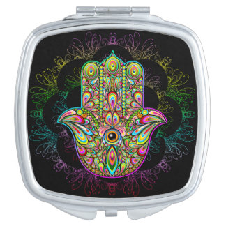Hamsa Hand Psychedelic Square Compact Mirror