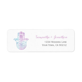Hamsa Hand Purple and Blue Return Address Stickers Label