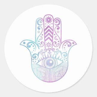 Hamsa Hand Purple and Blue Watercolor Classic Round Sticker