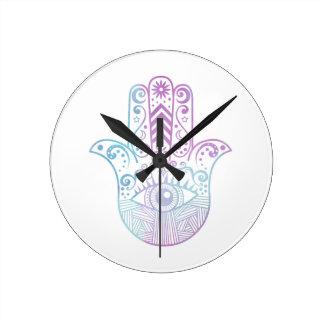 Hamsa Hand Purple and Blue Watercolor Round Clocks
