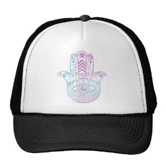 Hamsa Hand Purple and Blue Watercolor Trucker Hat