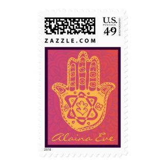 HAMSA HAND Red Orange Bat Mitzvah Invitation Stamp