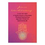 HAMSA HAND Red Orange Bat Mitzvah Party Card Custom Invites