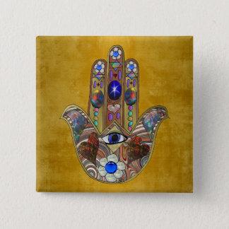 Hamsa Hearts Flowers Opal Art on Gold Button