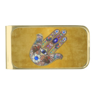 Hamsa Hearts Flowers Opal Art on Gold Gold Finish Money Clip