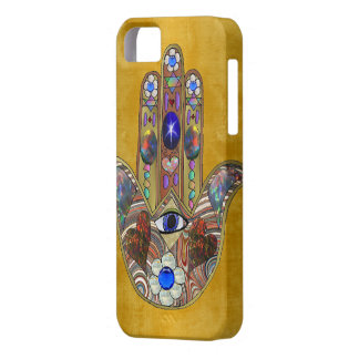 Hamsa Hearts Flowers Opal Art on Gold iPhone SE/5/5s Case