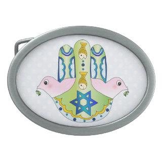 Hamsa judío hebilla de cinturon oval