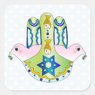 Hamsa judío colcomanias cuadradases