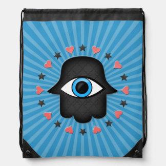 hamsa khamsa Eye in hand of the goddess Drawstring Backpack