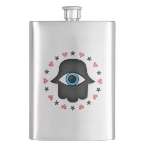 hamsa khamsa Eye in hand of the goddess Hip Flask