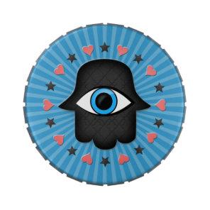 hamsa khamsa Eye in hand of the goddess Jelly Belly Tin