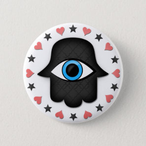 hamsa khamsa Eye in hand of the goddess Pinback Button