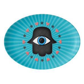 hamsa khamsa Eye in hand of the goddess Porcelain Serving Platter