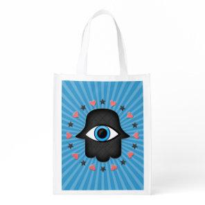 hamsa khamsa Eye in hand of the goddess Reusable Grocery Bag