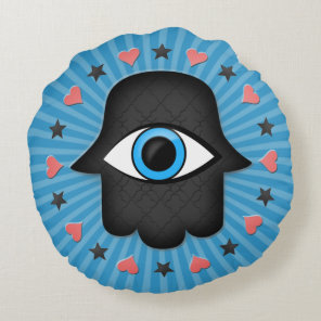 hamsa khamsa Eye in hand of the goddess Round Pillow