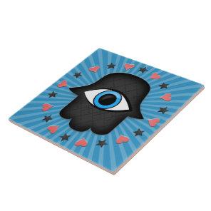 hamsa khamsa Eye in hand of the goddess Tile