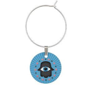 hamsa khamsa Eye in hand of the goddess Wine Glass Charm