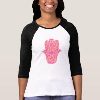 Hamsa-Mano amarilla rosada de la Miriam-Mano de Fa T Shirt