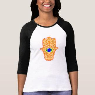 Hamsa-Mano del arco iris de la Miriam-Mano de Fati Camisetas
