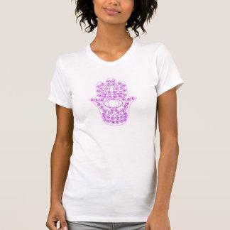 Hamsa-Mano púrpura del esquema de la lavanda de la T Shirt