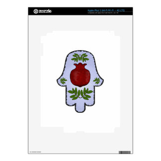 Hamsa, Pomegranate, Light Blue, Stained Glass Zazz iPad 3 Decals