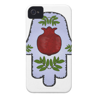 Hamsa, Pomegranate, Light Blue, Stained Glass Zazz iPhone 4 Case-Mate Case