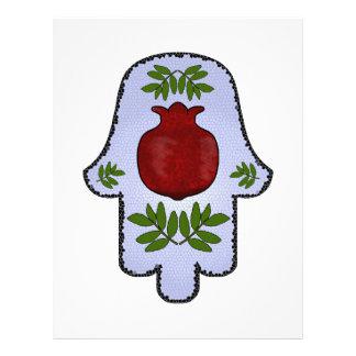 Hamsa, Pomegranate, Light Blue, Stained Glass Zazz Letterhead