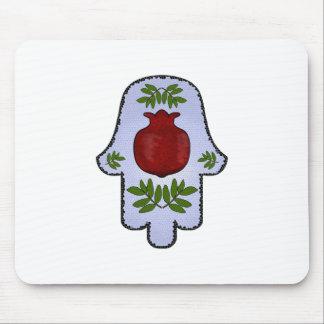 Hamsa, Pomegranate, Light Blue, Stained Glass Zazz Mouse Pad