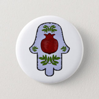 Hamsa, Pomegranate, Light Blue, Stained Glass Zazz Pinback Button