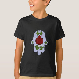 Hamsa, Pomegranate, Light Blue, Stained Glass Zazz T-Shirt