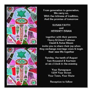Hamsa Stainglass Darik Wedding Invitation