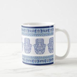 hamsa*tunis*morocco*henna*blue taza básica blanca