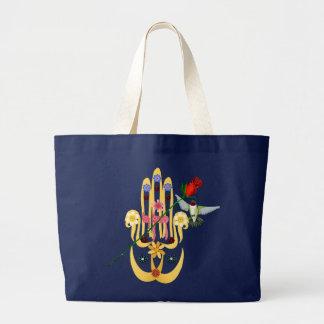 Hamsa y bolsos de las flores bolsa de tela grande