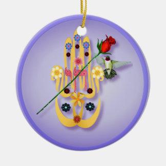 Hamsa y ornamentos de las flores ornamento de navidad