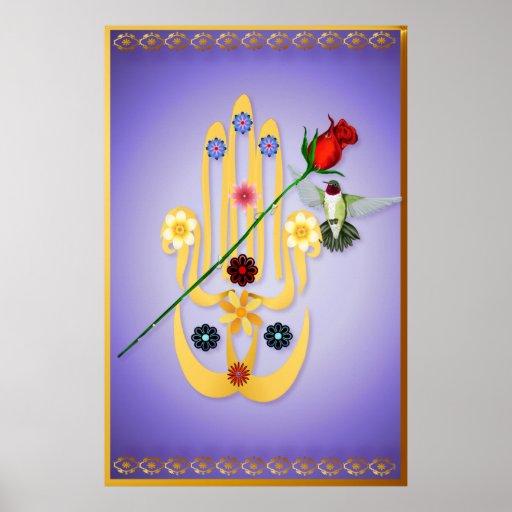 Hamsa y posters de las flores