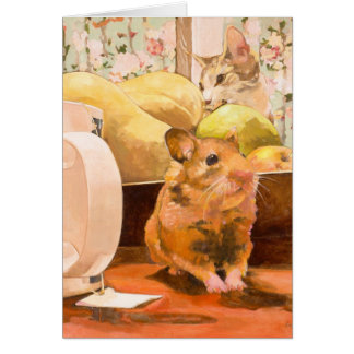 Hamster and Cat Blank Card