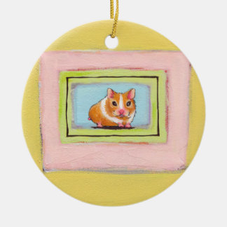 Hamster art fun cute whimsical acrylic painting christmas ornament