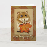 Hamster & Autumn Leaf Thanksgiving Card (Visit shop to explore more sweet and fun cat and animal themed cards and gifts)
