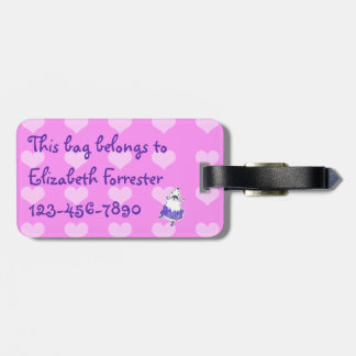 Hamster Ballerina Personalized Bag Tag pink purple