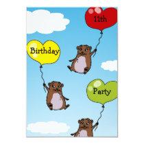 Hamster balloons, 11th birthday party invitation