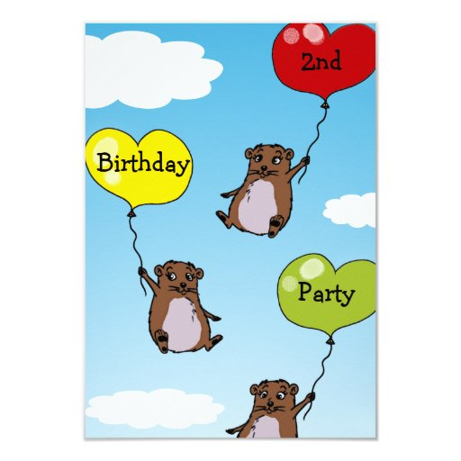 Hamster balloons, 2nd birthday party personalized invite